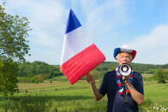 French Soccer fan with flag Royalty Free Stock Photo