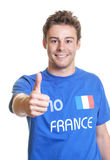 French soccer fan showing thumb up Stock Photography