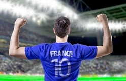 French soccer player celebrating in the stadium Royalty Free Stock Photos