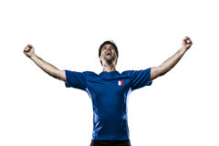 French soccer player. Celebrating on the white background Stock Images