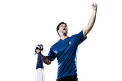 French soccer player. Celebrating on the white background Stock Photos