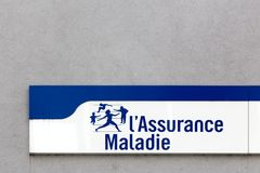 French social security sign on a wall Royalty Free Stock Image