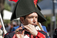French Soldier playing the piccolo during Representation of the Battle of Bailen Royalty Free Stock Photography