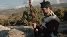 French soldier shoots at the target stock video footage