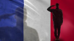 French soldier silhouette saluting against national flag, national guard patriot. Stock footage stock video
