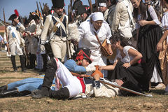 French soldier wounded on the battlefield during Representation of the Battle of Bailen Stock Photo