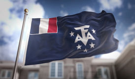 French Southern Flag 3D Rendering on Blue Sky Building Backgroun Stock Images