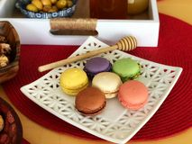 French special dessert macaroon with breakfast Royalty Free Stock Photography