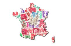 French stamps in the shape of France Royalty Free Stock Photo