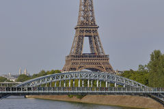 French Statue of Liberty Replica and Eiffel Tower with Debilly Footbridge, view from the River Seine - Paris, France, AUGUST 1, 20 Stock Photo