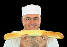 French Stick Chef Royalty Free Stock Photography