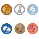 French stickers for allergen free products Stock Photos