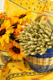 French still life with sun flowers Royalty Free Stock Photo