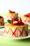 French strawberry cake. An individual french strawberry cake fraisier with three others at the background Royalty Free Stock Photo