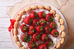 French Strawberry charlotte closeup on the table. Horizontal top royalty free stock images