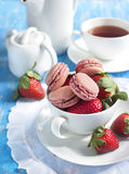 French strawberry macaroons. Royalty Free Stock Images