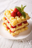 French strawberry millefeuille with custard closeup on a plate. Stock Photo