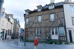 French street in Brittany daily life stock photo