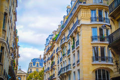 French street in Paris. With amazing plats during daytime Royalty Free Stock Photography