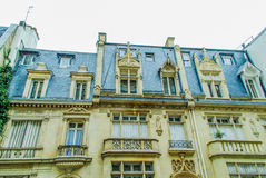 French street in Paris. With amazing plats during daytime Royalty Free Stock Photo
