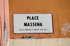 French Street Plate Of Place Massena In Nice. France French Riviera stock photography