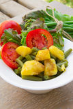 French string bean salad in white dish Royalty Free Stock Image