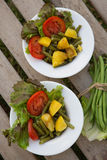 French string bean salad in white dishes Royalty Free Stock Photo