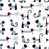 French style animals seamless pattern. Cute cartoon parisian dachshund, cat and scottish terrier vector illustration. Stock Photography