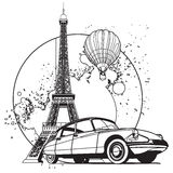 French Style Badge black and white Stock Photography