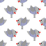 French style birdie boy seamless pattern on white background. Cute cartoon bird vector illustration. Royalty Free Stock Images