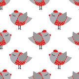 French style birdie girl seamless pattern on white background. Stock Photos
