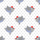 French style birdie seamless pattern on polka dots background. Cartoon parisian bird vector illustration. Stock Photo