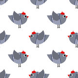 French style birdie seamless pattern on white background. Cute cartoon bird vector illustration. Stock Photography