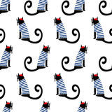 French style cat seamless pattern. Cute cartoon sitting parisian cat vector illustration. Stock Image