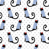 French style cat seamless pattern on polka dots background. Cute cartoon sitting cat vector illustration. Royalty Free Stock Photo