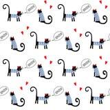 French style cats saying bonjour seamless pattern. Cute cartoon parisian kitty vector illustration. Stock Photo