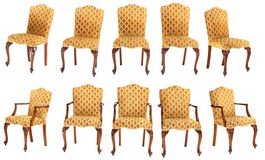 French style chair and armchair. French Louis-philipp's style chair and armchair isolated on white background Stock Images