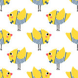 French style chicks seamless pattern on white background. Stock Photo