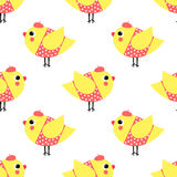 French style chicks seamless pattern on white background. Cute cartoon girls birds vector illustration. French style dressed birdies with hat and polka dots Royalty Free Illustration