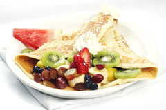 French style crepe with assorted fruits Stock Photos