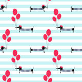 French style dog holding balloons seamless pattern on striped background. Royalty Free Stock Photography