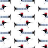 French style dog seamless pattern. Cute cartoon parisian dachshund vector illustration. Stock Images