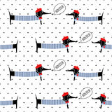 French style dogs saying bonjour seamless pattern on polka dots background. Cute cartoon parisian dachshund vector illustration. Stock Photo
