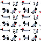 French style dressed animals seamless pattern. Royalty Free Stock Photo