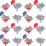 French style dressed birds saying bonjour (hello) seamless pattern on white background. Royalty Free Stock Photos
