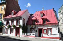French Style House in Old Quebec City. French Style House Restaurant Aux Anciens Canadians on Rue Saint Louis in Old Quebec City, Quebec, Canada. Historic Royalty Free Stock Image