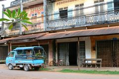 French style houses in Champasak, Pakse, Laos Royalty Free Stock Photography