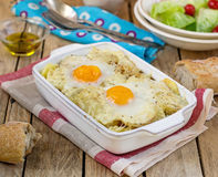 French style potato gratin with cheese and eggs Royalty Free Stock Photography