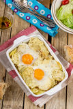French style potato gratin with cheese and eggs Royalty Free Stock Photo