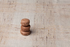 French sweet brown macarons. French homenade sweet brown macarons Stock Images